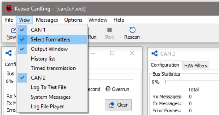 Database formatter in CanKing - Kvaser